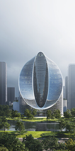 BIG imagines a looped courtscraper for Oppo's R&D headquarters in China