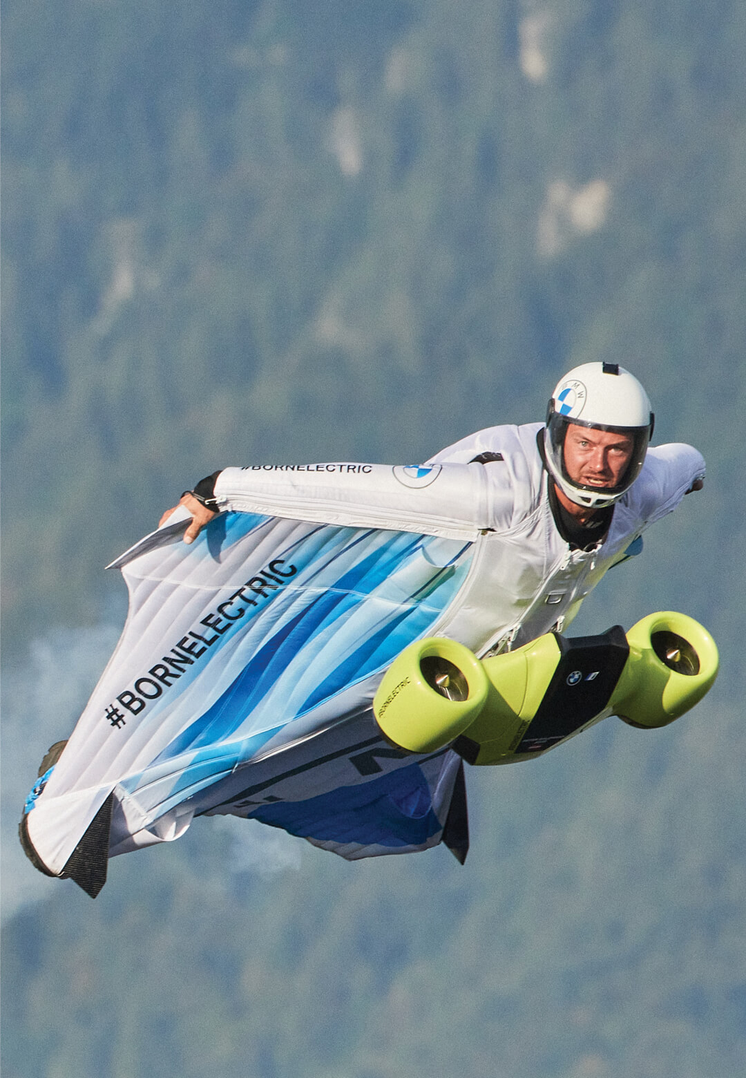 Austrian sky-diver and base-jumper Peter Salzmann in the electrified wingsuit's maiden flight | Electrified Wingsuit | BMWi, Designworks, Peter Salzmann | STIRworld
