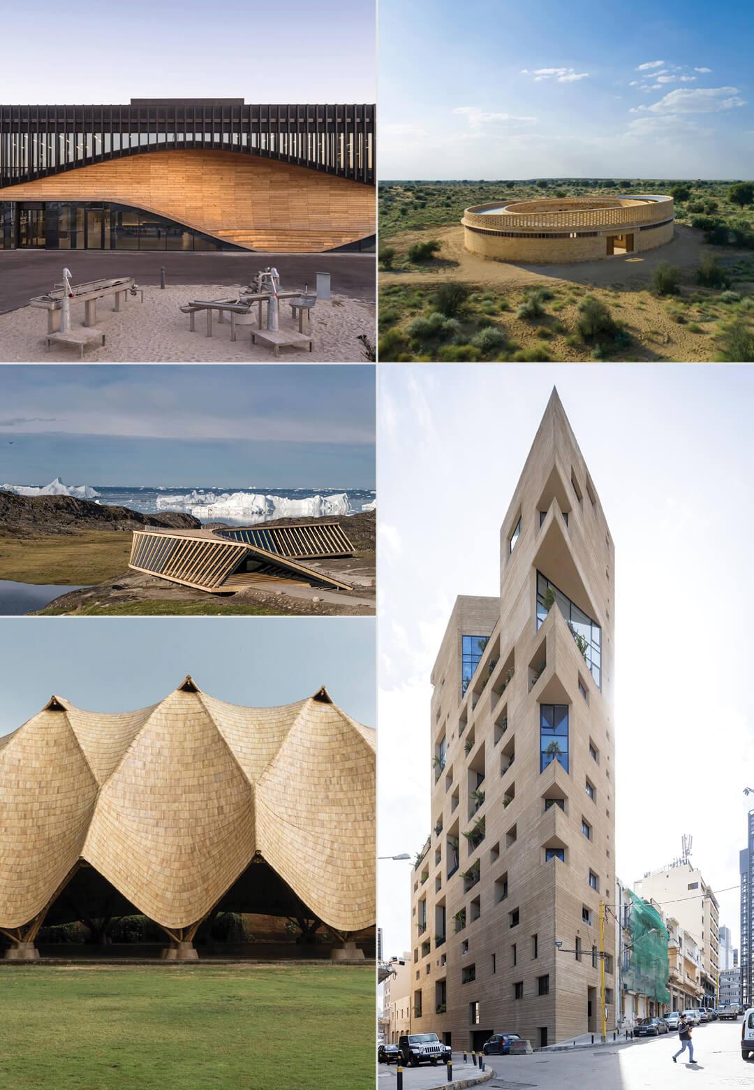 Clockwise L to R: Stone Garden Housing, Lemvig Klimatorium, The Arc, Ilulissat Icefjord Centre, Gyaan Center, Pirelli 39 | World Architecture Day 2021 | STIRworld