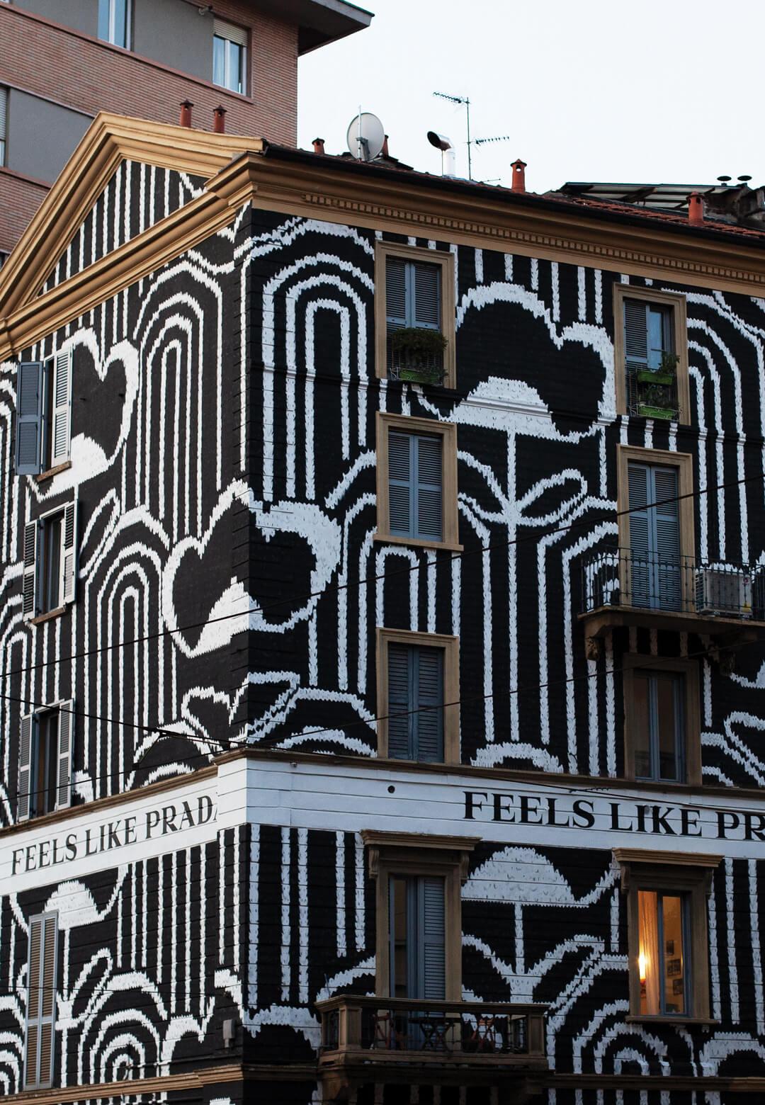 Prada has transformed building façades in Milan to promote its Fall/Winter 2021 campaign titled 'Feels Like Prada' | Feels Like Prada Installations | STIRworld