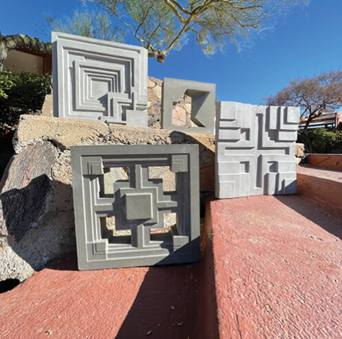 Frank Lloyd Wright inspired 3D cement tiles and textile blocks unveiled