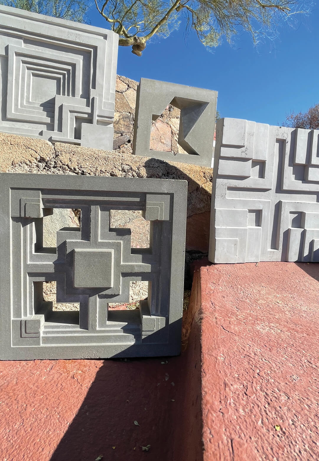(Clockwise from top left) Ennis, Ablin, Millard and Storer Blocks and Tiles by The Frank Lloyd Wright Foundation in partnership with Eso Surfaces   Frank Lloyd Wright Foundation Textile Blocks and 3D Cement Tiles   STIRworld