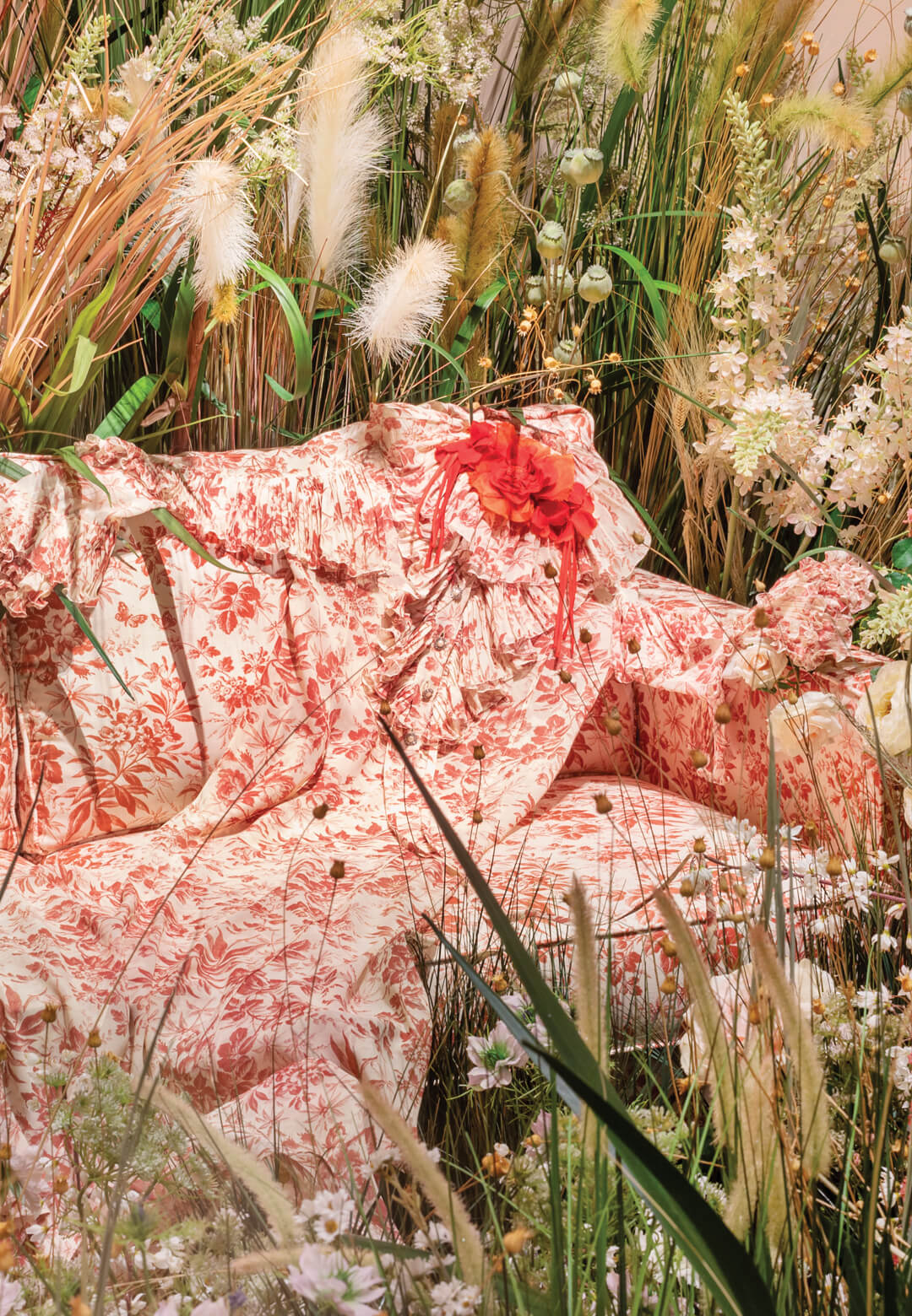 Gucci has curated a series of 15 spaces for a multimedia experience of past campaigns, including the Bloom in Bloom fragrance line exhibit (pictured here)   Gucci Garden Archetypes   STIRworld