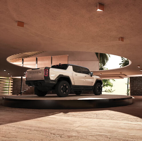 Kelly Wearstler designs a desert-inspired virtual garage for the Hummer EV