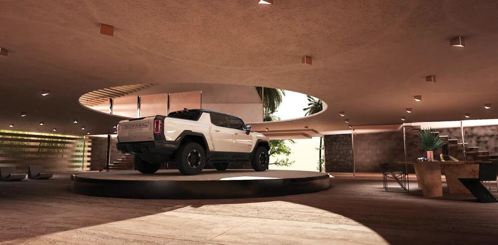Kelly Wearstler designs a desert-inspired virtual garage for the Hummer EV
