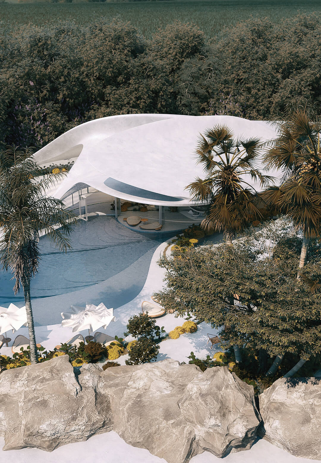 Mask Architects imagines the organic Villa G01 in Sardinia, Italy | Villa G01 imagined by Mask Architects | STIRworld