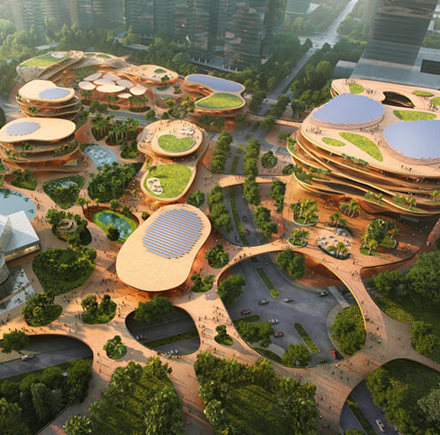 MVRDV shapes Shenzhen Terraces with stacked plateaus and green courts in China