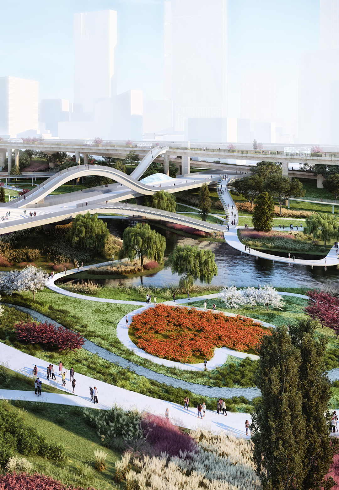 'The Weaves' is a redesign of the Tancheon valley and waterfront by MVRDV - the bridge| The Weaves | MVRDV | STIRworld