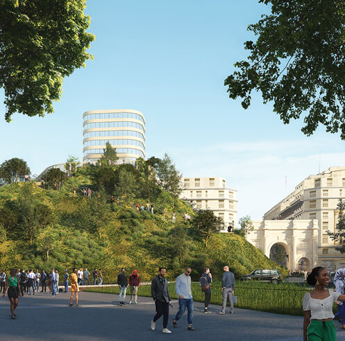 MVRDV's Marble Arch Hill will unravel an overview of Oxford Street and Hyde Park
