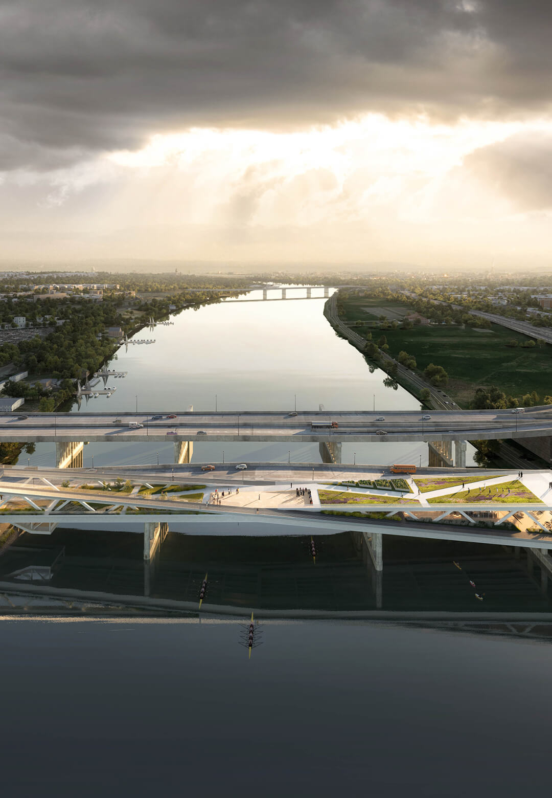 Aerial view of the proposed 11th Street Bridge Park in Washington D.C   OMA   11th Street Bridge Park   STIRworld