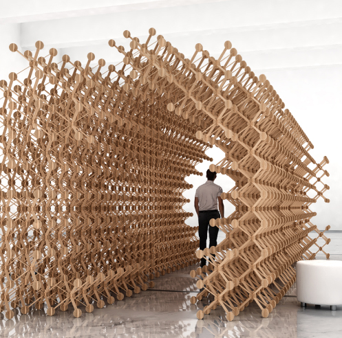 Plexus by Studio Symbiosis is a parametric pavilion that can be built in 1000+ ways