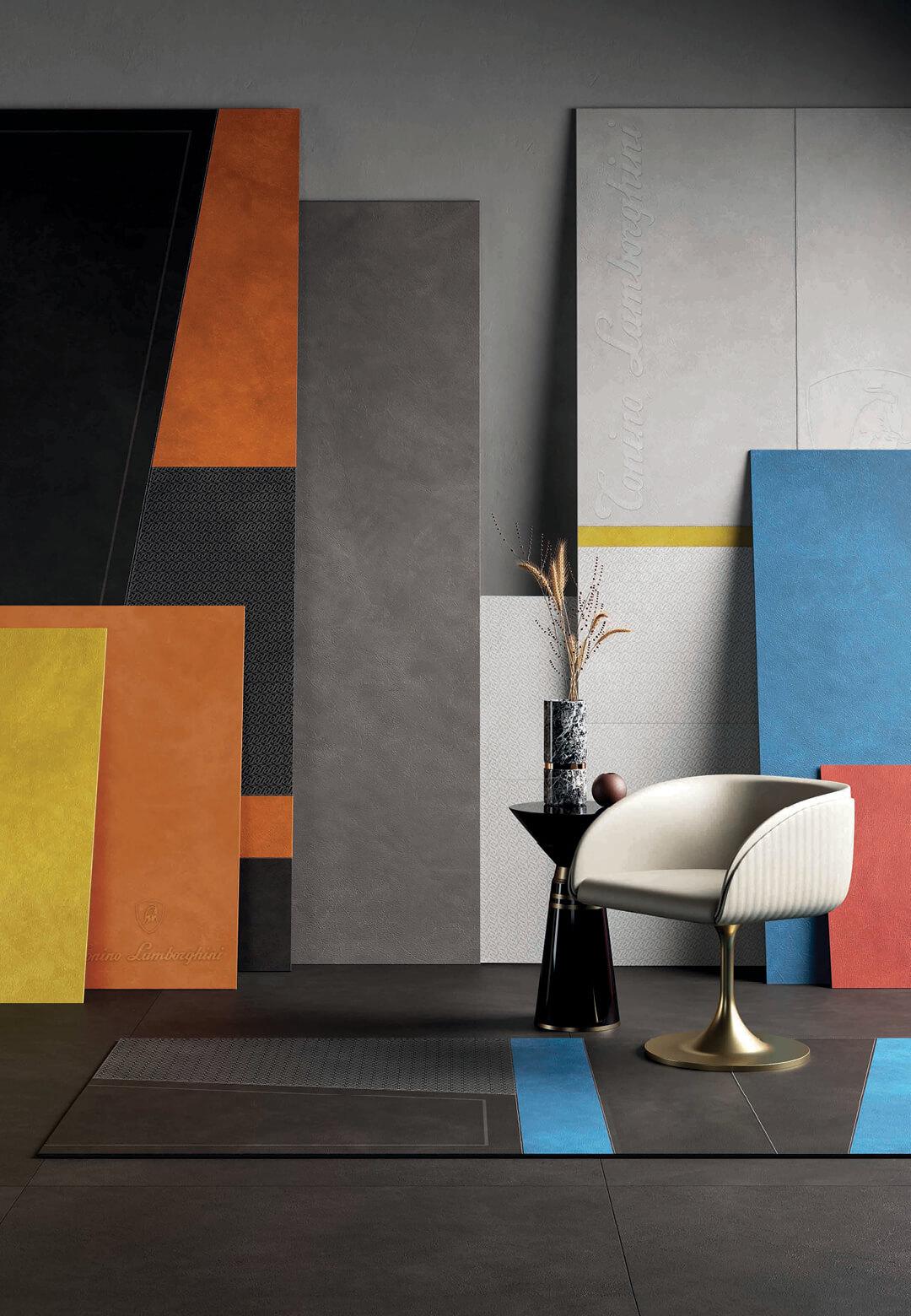 Deconcrete by Sant'Agostino (L); Tonino Lamborghini's latest surface collection (R)  Tile Trends at Cersaie 2021   STIRworld