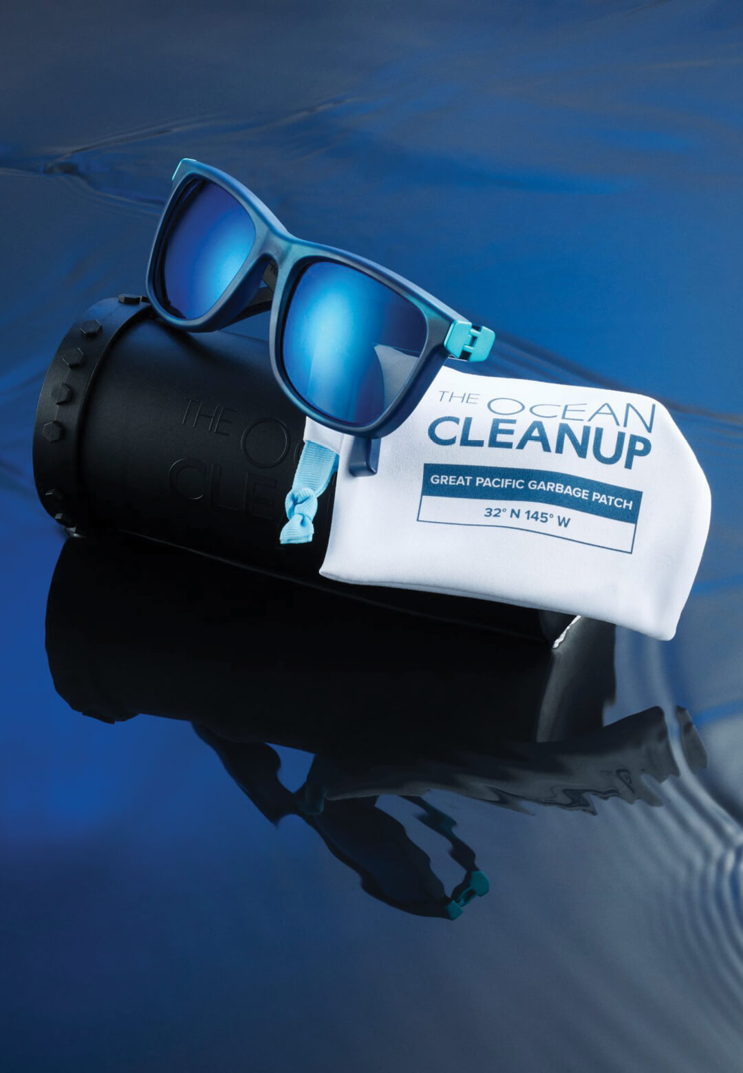 The Ocean Cleanup Sunglasses with case and pouch, made with recycled ocean plastic | The Ocean Cleanup Sunglasses | STIRworld