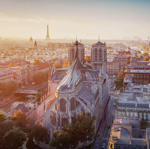 Trnsfrm imagines a twisting, stained glass spire replacing Notre Dame cathedral roof