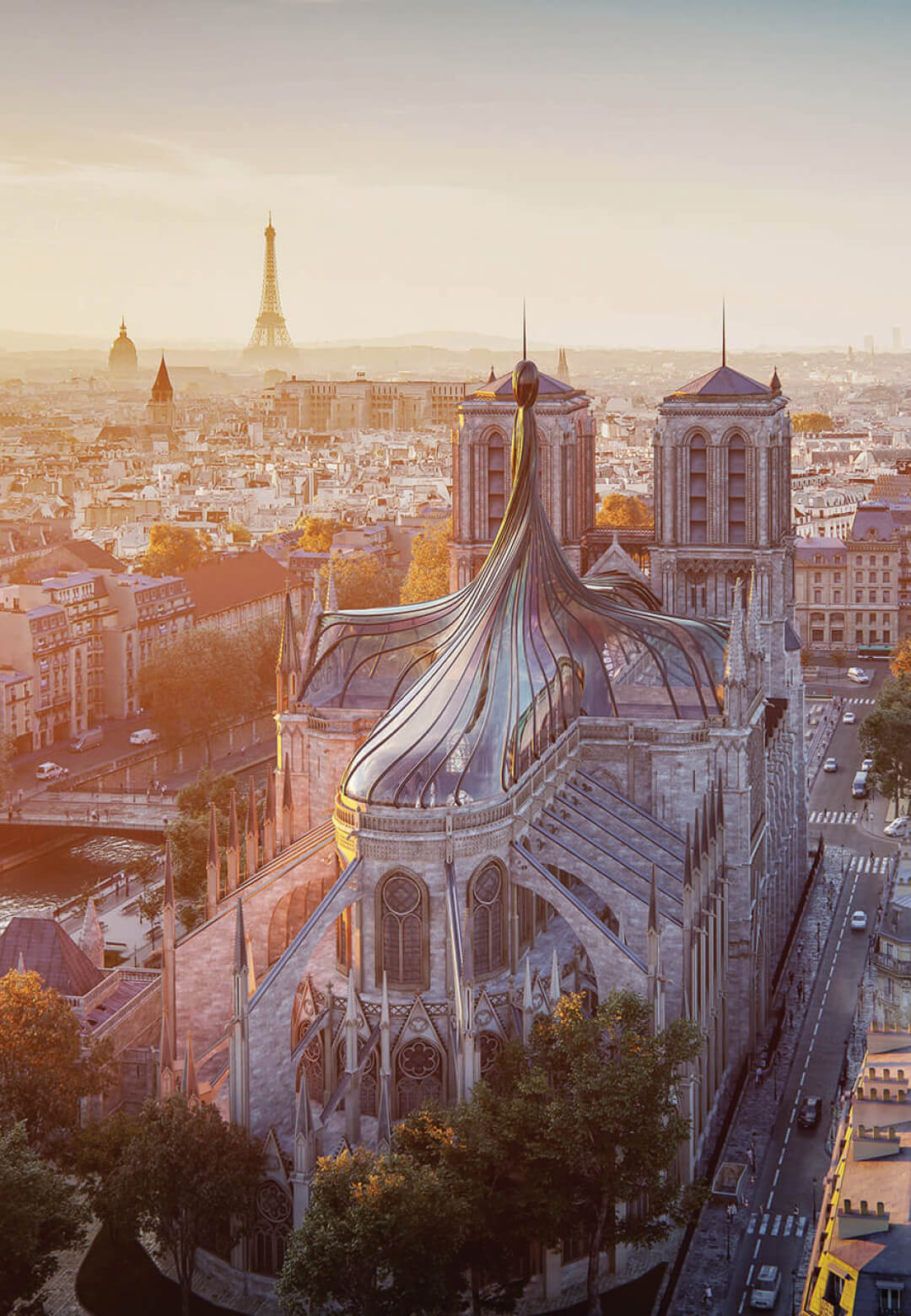 Trnsfrm imagines a twisting, stained glass spire replacing Notre Dame cathedral roof in Paris | Notre Dame cathedral roof restoration proposal by Trnsfrm | STIRworld