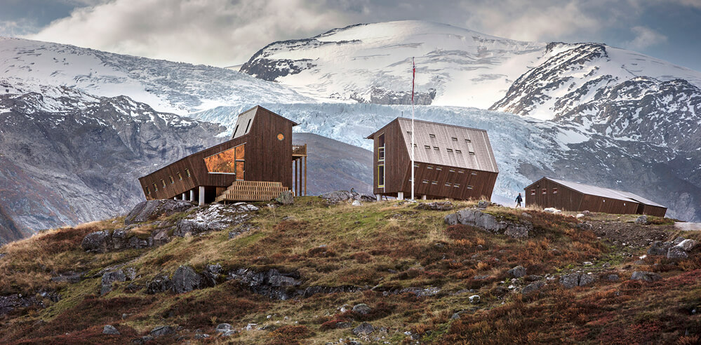 Tungestølen Hiking Cabin by Snøhetta overlooks Norwegian glaciers, mountains