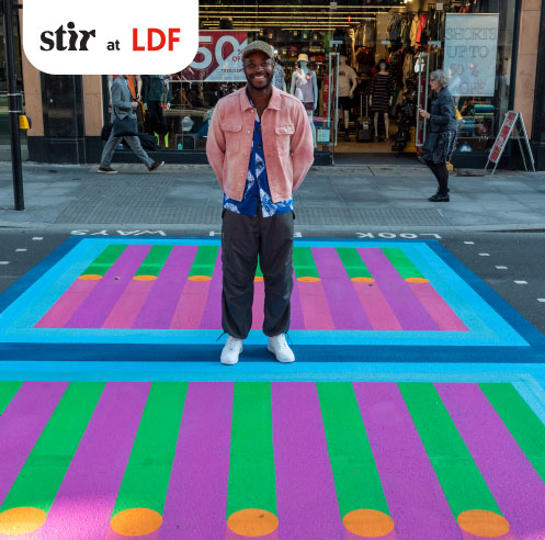 Yinka Ilori restyles London's pedestrian crossings with vivid colours for LDF 2021