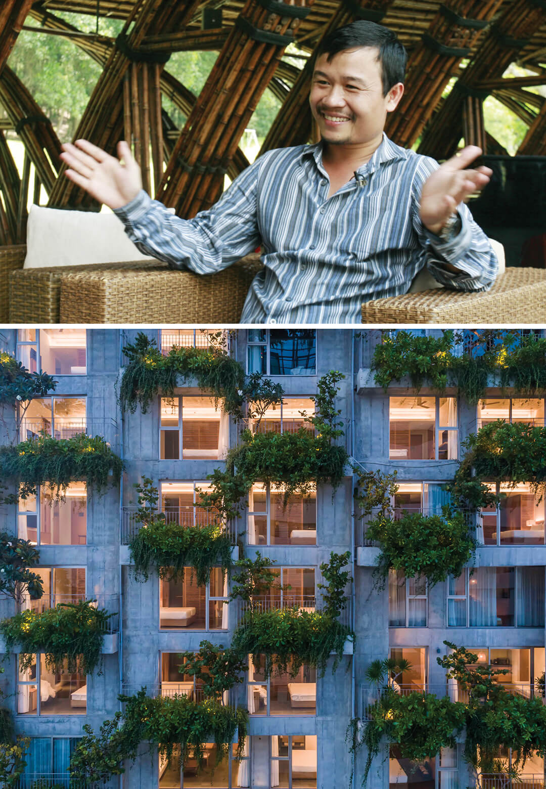 L to R: Architect Vo Trong Nghia of VTN Architects, and landscaped balconies of Chicland Hotel by VTN Architects | Interview with Vo Trong Nghia of VTN Architects | STIRworld