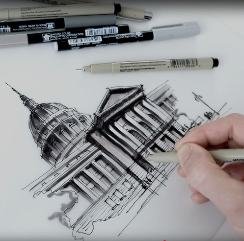 Sketching the San Francisco City Hall – a drawing tutorial by Dan Hogman