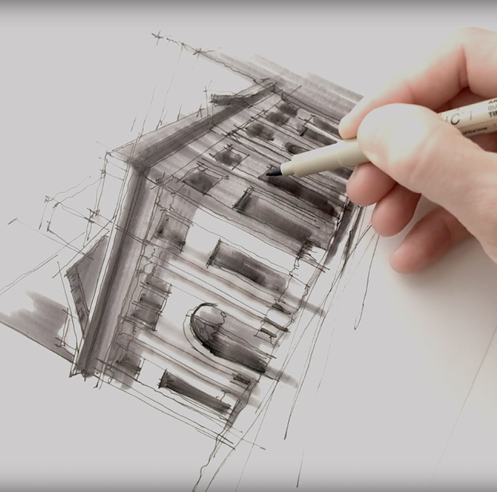 Sketching the Farmers and Merchants Bank, LA – a drawing tutorial by Dan Hogman