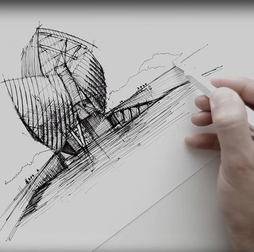 Sketching Fondation Louis Vuitton, Paris – a drawing tutorial by Dan Hogman