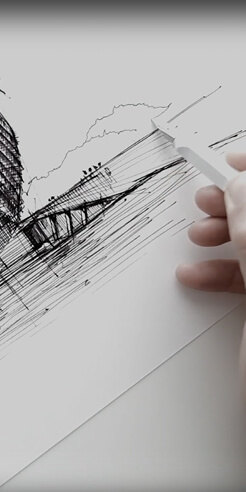 Sketching Fondation Louis Vuitton, Paris – a drawing tutorial by Dan Hogman