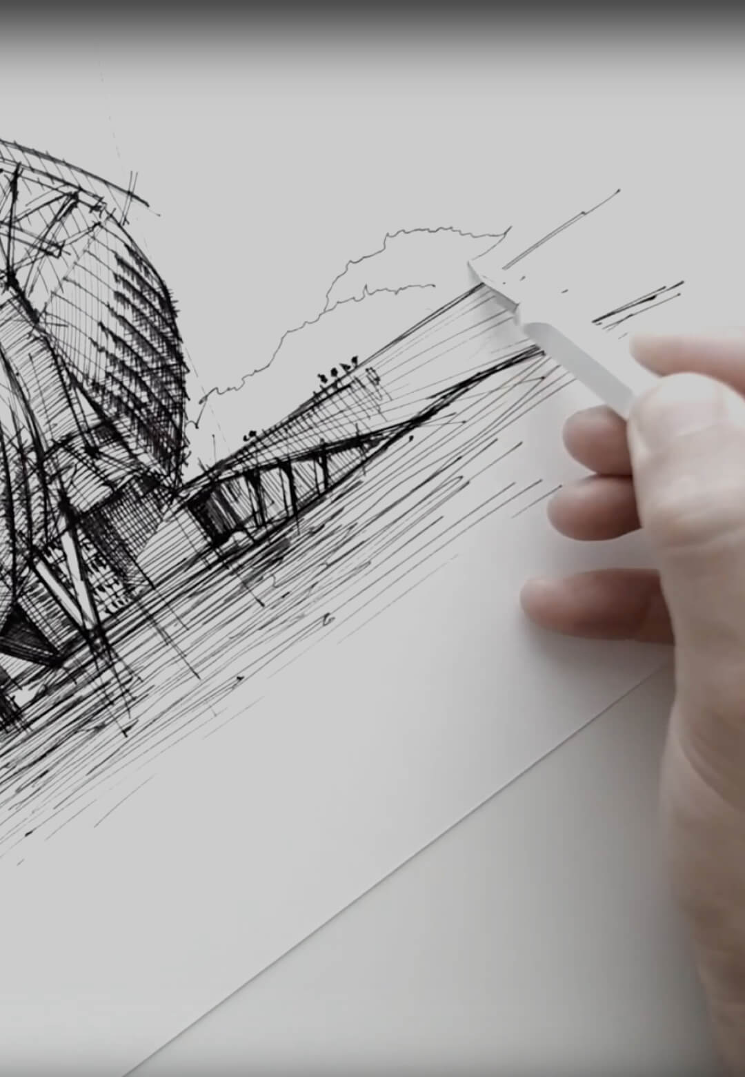 Sketching Fondation Louis Vuitton – a drawing tutorial by Dan Hogman | Dan Hogman | Column | STIRworld