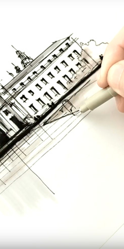 Sketching Pasadena's City Hall – a drawing tutorial by Dan Hogman