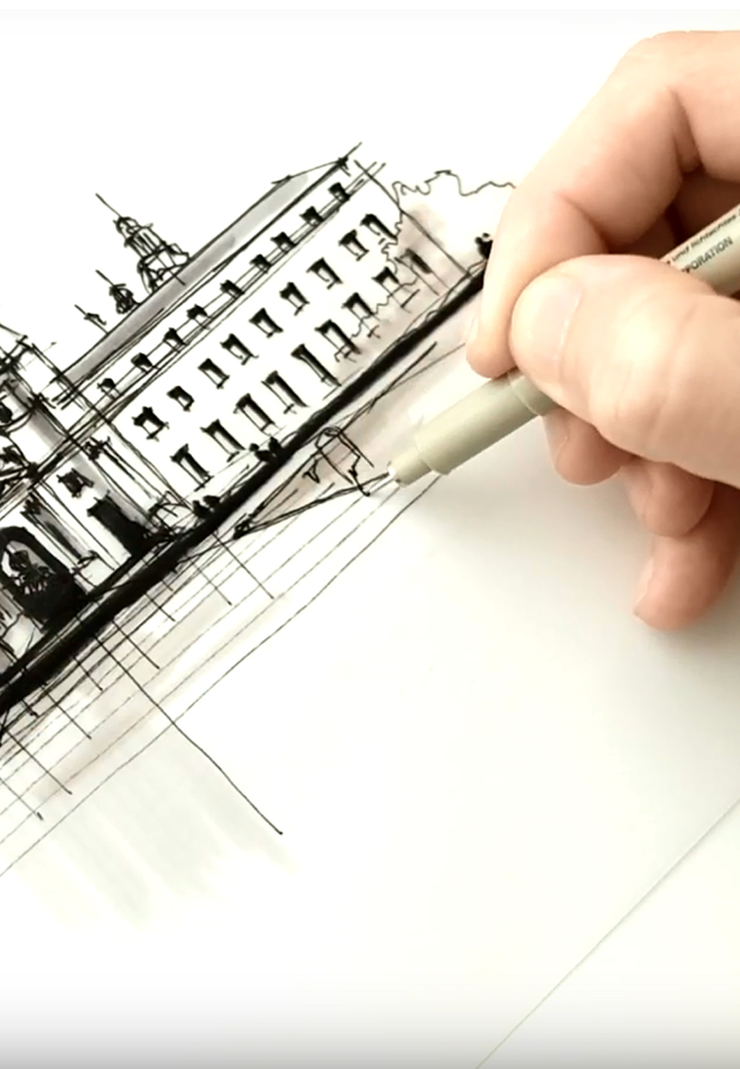 Sketching Pasadena City Hall | Drawing Tutorial with Dan Hogman | STIRworld