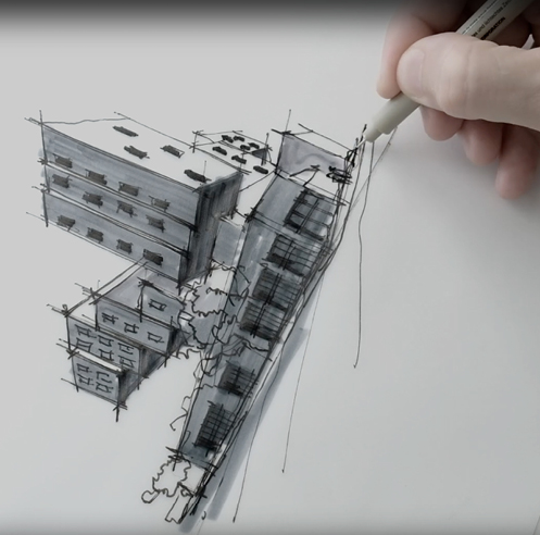 Sketching Star Apartments, Los Angeles – a drawing tutorial by Dan Hogman