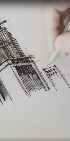 Sketching the HSBC building in Hong Kong – a drawing tutorial by Dan Hogman