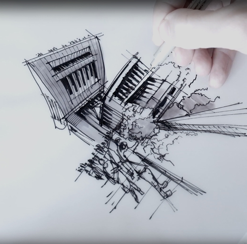 Sketching the Peak Tower, Hong Kong - a drawing tutorial by Dan Hogman