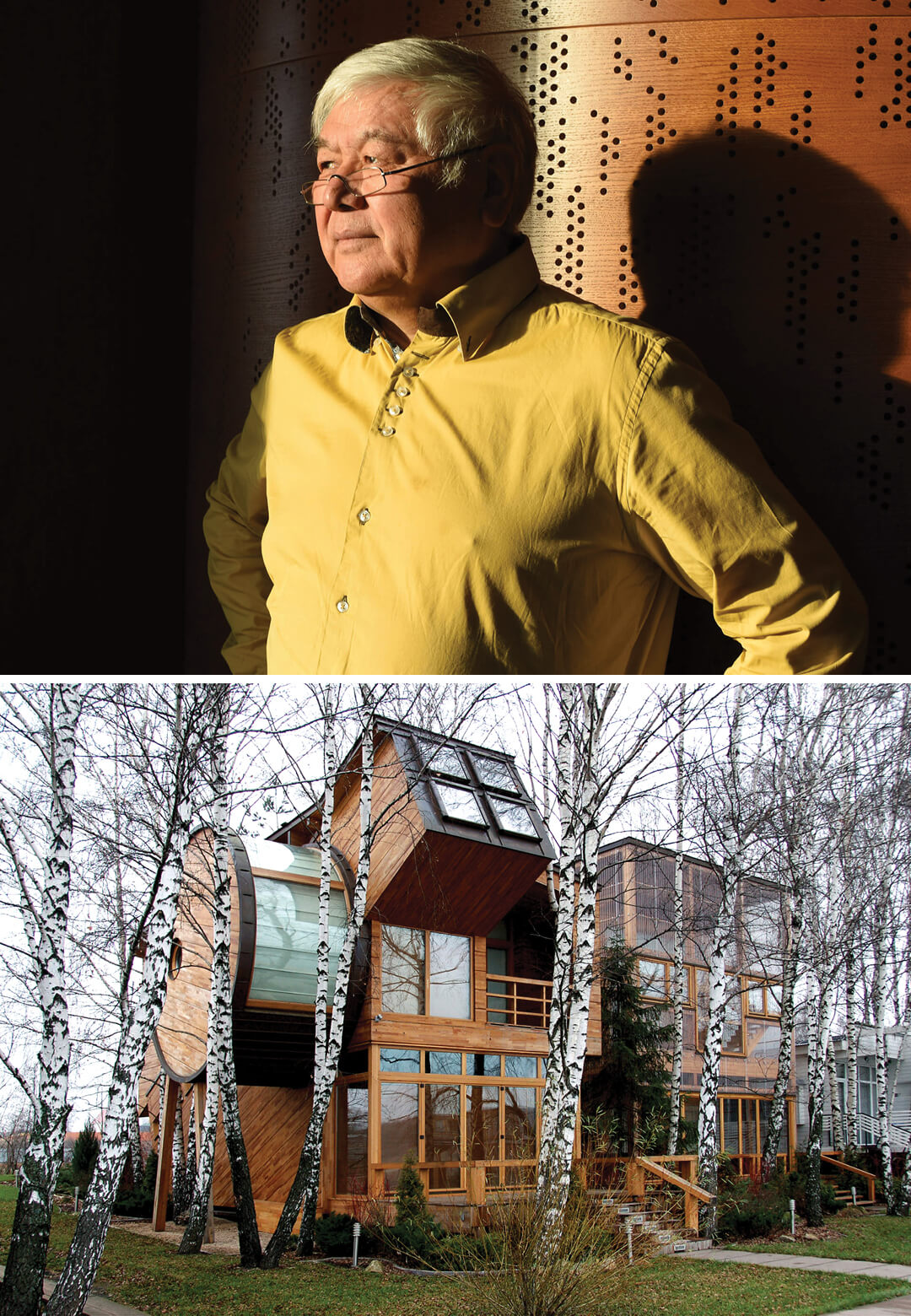 From L to R: House Telescope in Pirogovo designed by Russian architect Totan Kuzembaev | Russian architect Totan Kuzembaev | STIRworld