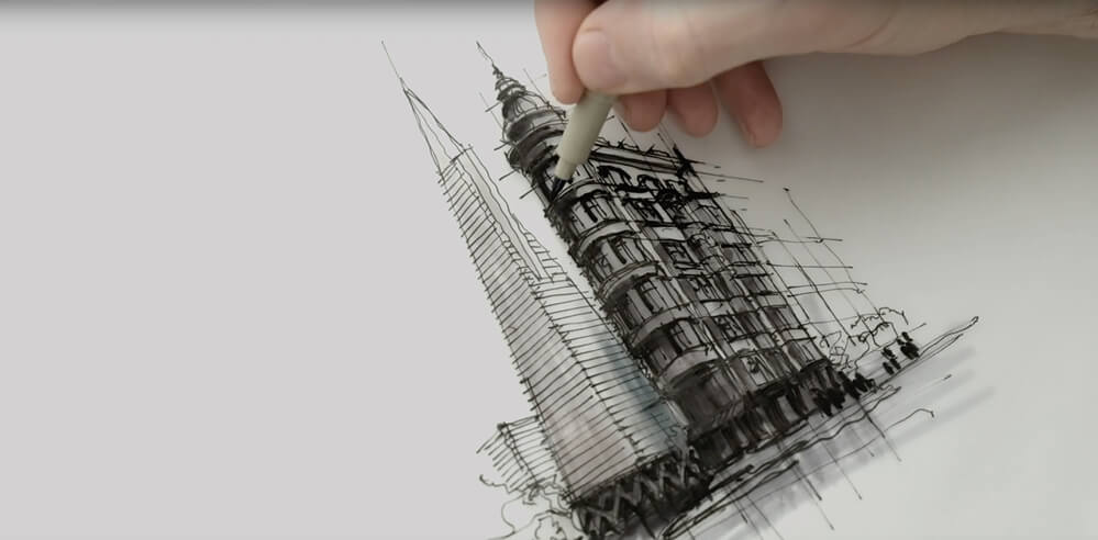 Sketching Transamerica Pyramid, Sentinel Building – a drawing tutorial by Dan Hogman