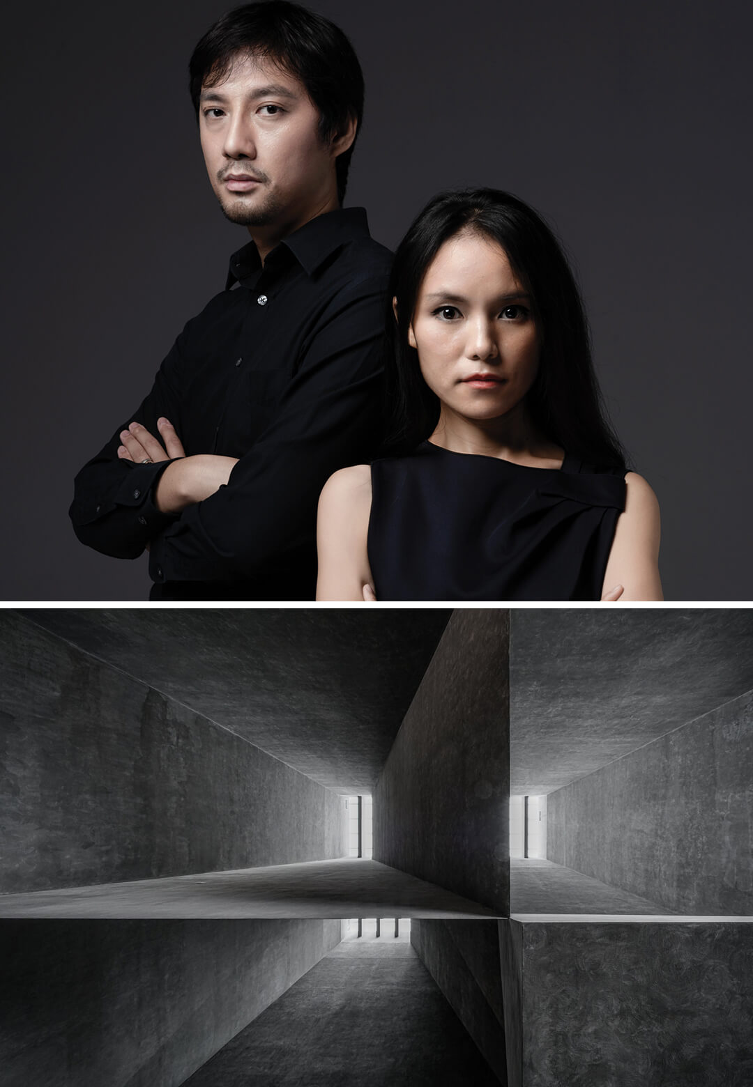 (Left): Yingfan Zhang and Xiaojun Bu, the principal architects of Atelier Alter. (Right): Different sections of the Yingliang Stone Natural History Museum | Atelier Alter | STIRworld