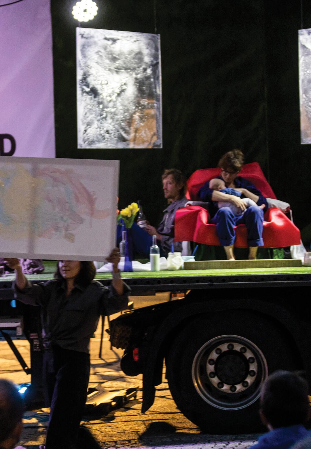 Margareth Kaserer's performance piece, 'Mutter Milch Kunst' (Mother Milk Art) had her seated on stage breastfeeding her newborn | STIRworld