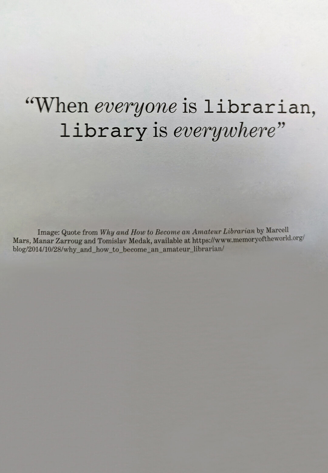 One of the index cards from Simon Browne's Tasks of the Contingent Librarian | STIRworld