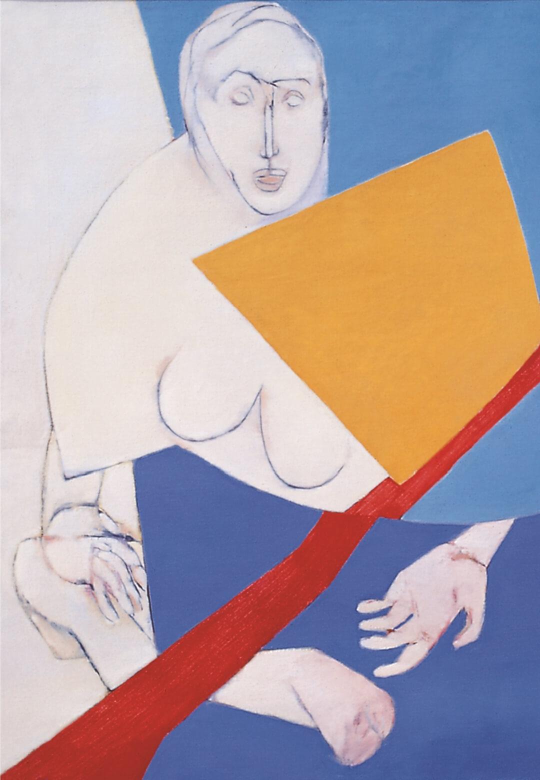 Diagonal (1975); oil on canvas by Tyeb Mehta | Vadehra Art Gallery | STIRworld