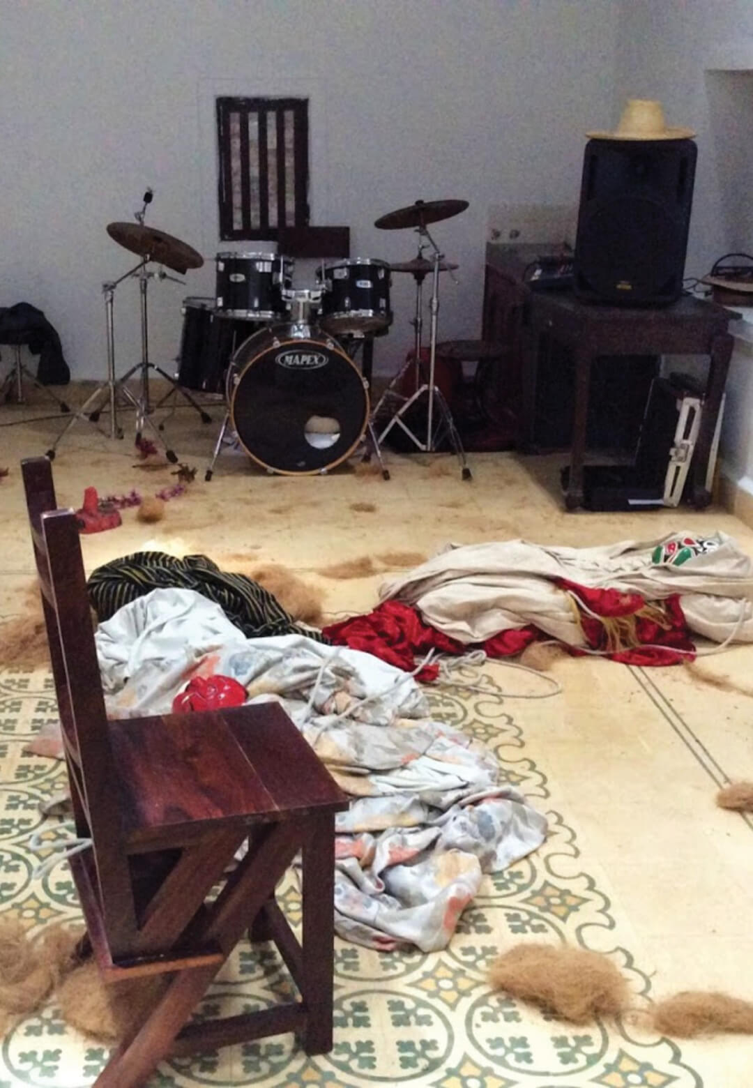 Remnants of a live art performance by Nikhil Chopra in August 2015 at the erstwhile HH Art Spaces in Siolim | STIRworld