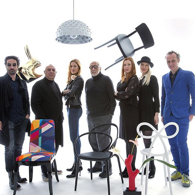 Qeeboo team (L-R) - Marcel Wanders, Stefano Giovannoni, Nika Zupanc, Andrea Branzi, Anna Lindgren, Sofia Lagerkvist, and Richard Hutten | Moments of Affection: Milanese Alliances (M.A.M.A.) | STIRworld