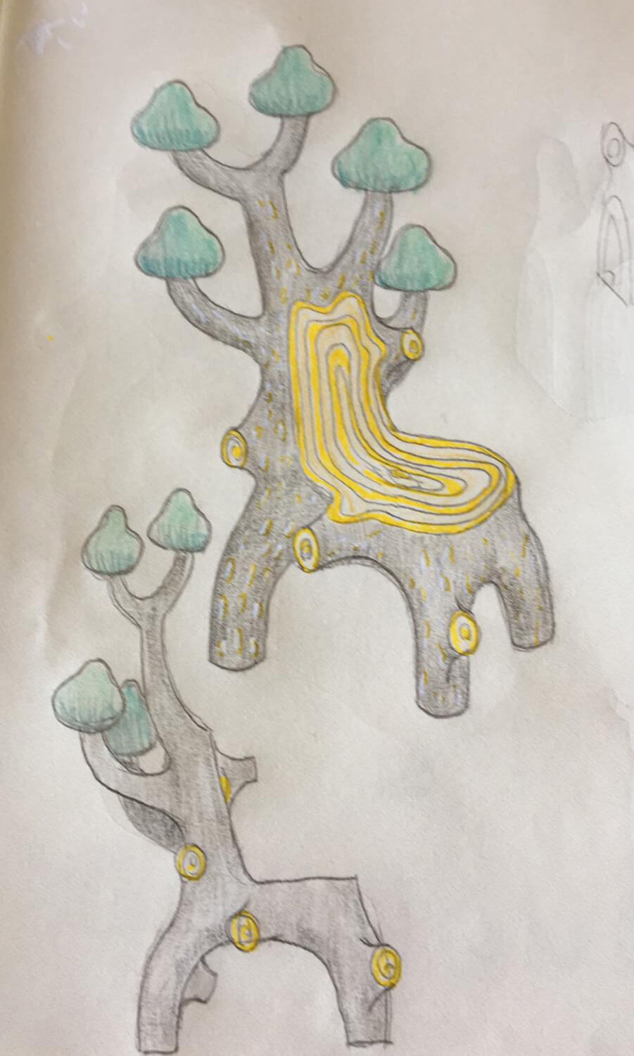 Conceptual sketch for the Forest Chair by Marcantonio Raimondi Malerba, for Scarlet Splendour | Moments of Affection: Milanese Alliances (M.A.M.A.) | STIRworld