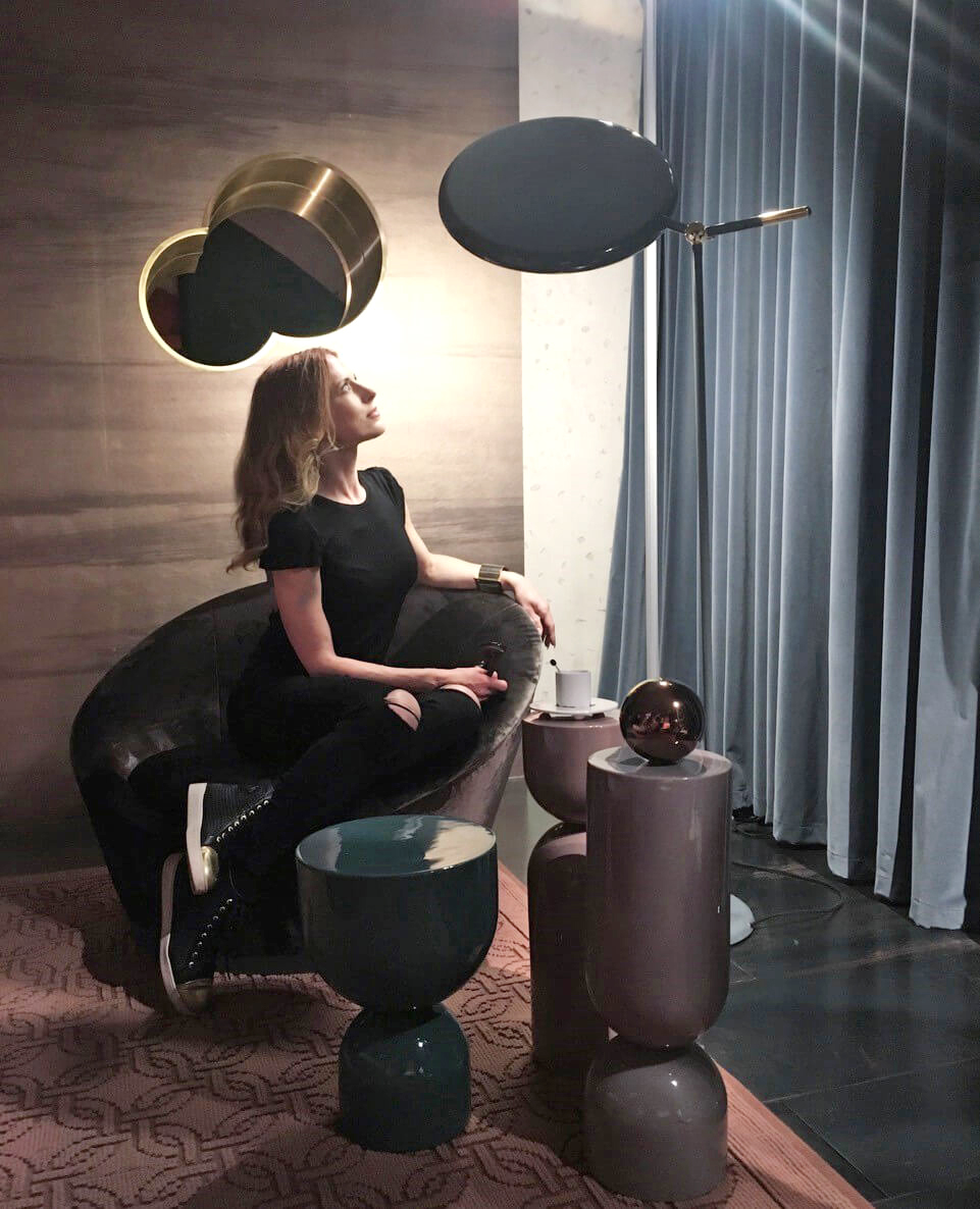 Nika Zupanc pictured here with her Full Moon Floor Lamp | Moments of Affection: Milanese Alliances (M.A.M.A.) | STIRworld