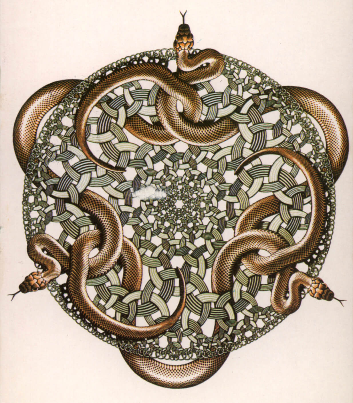 Hyperbolic geometry translated in the 'Snakes' woodcut | Maurits Cornelis Escher | STIRworld