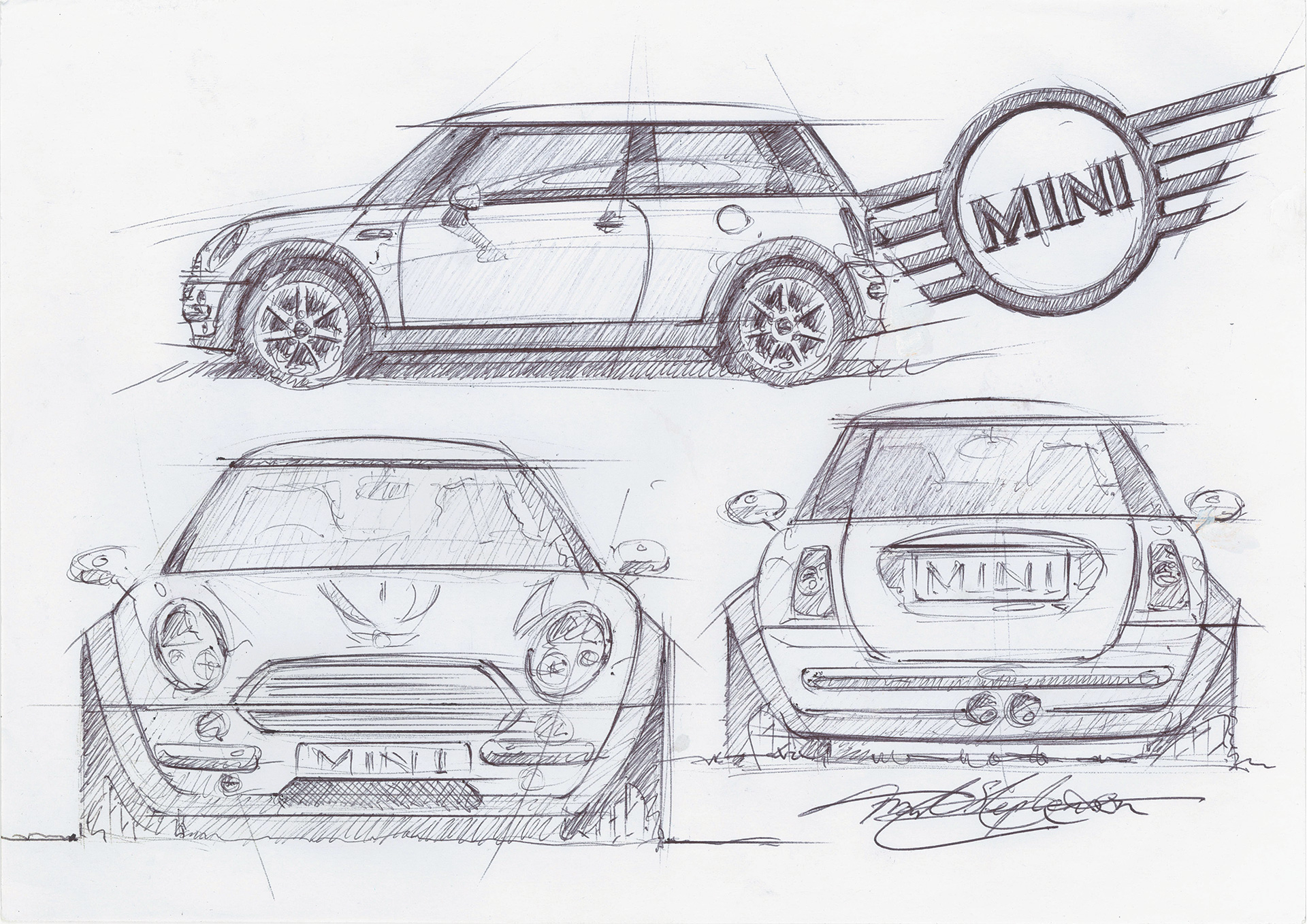 A sketch of the Mini Cooper by Frank Stephenson | Cross Border Conversations | Frank Stephenson X Gul Panag | STIR X LOCO Design