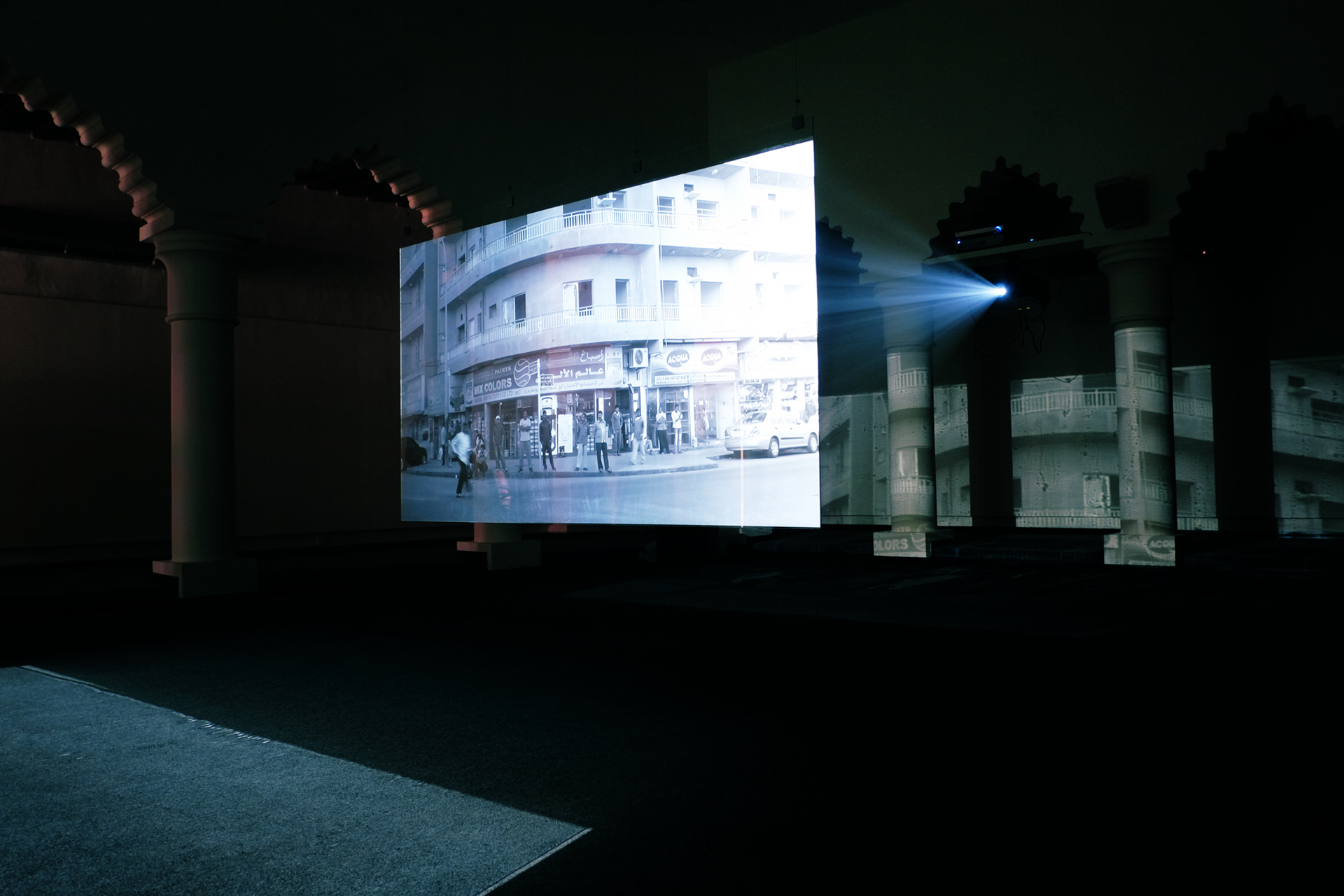 Installation shot of Dilbar, a single-channel video installation by Apichatpong Weerasethakul and Chai Siris, 2013, for Sharjah Biennial 11| Artes Mundi| STIR