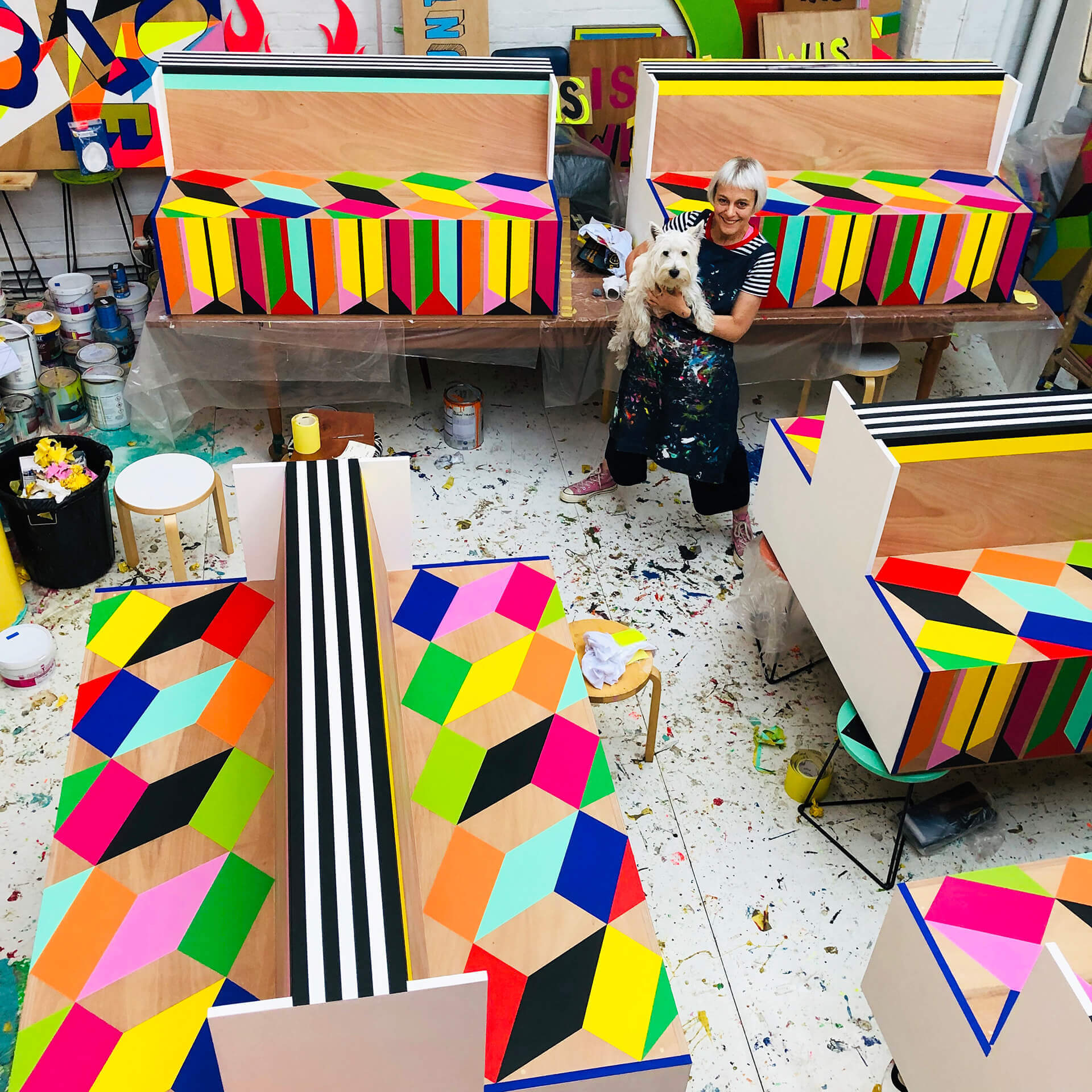 Artist Morag Myerscough's eclectic breadth of works is characterised by engaging boldness of colours and graphics | Cross Border Conversations | Morag Myerscough X Neil Harbisson | STIR X LOCO Design