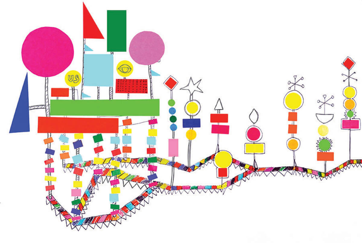 A concept drawing by Morag Myerscough | Cross Border Conversations | Morag Myerscough X Neil Harbisson | STIR X LOCO Design