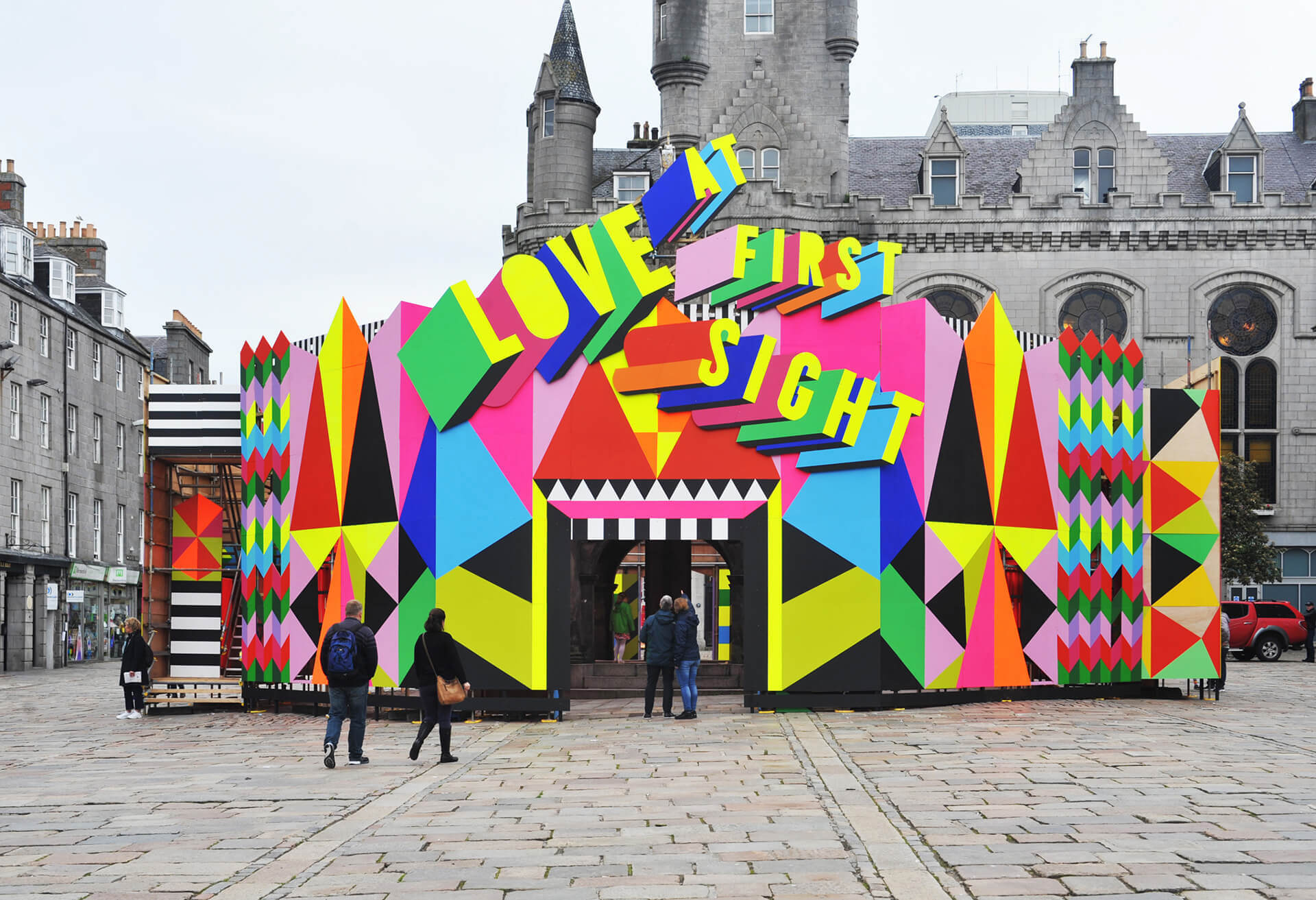 Part pavilion, part-stage, 'Love at First Sight' from Aberdeen, Scotland  | Cross Border Conversations | Morag Myerscough X Neil Harbisson | STIR X LOCO Design