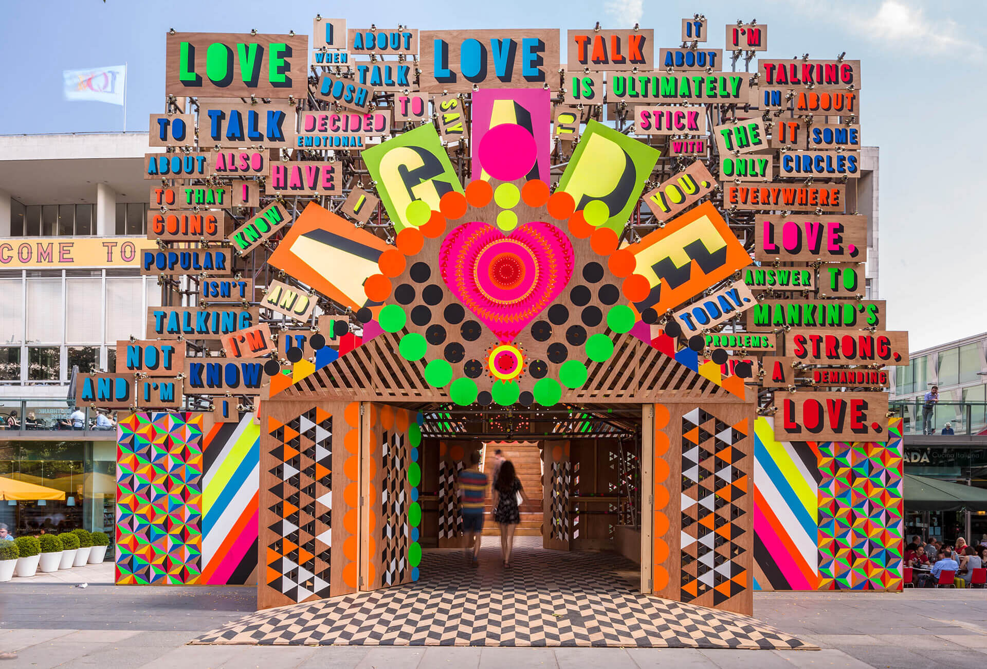 Temple of Agape by Morag Myerscough and Luke Morgan designed for a cultural festival in London (2014) | Cross Border Conversations | Morag Myerscough X Neil Harbisson | STIR X LOCO Design