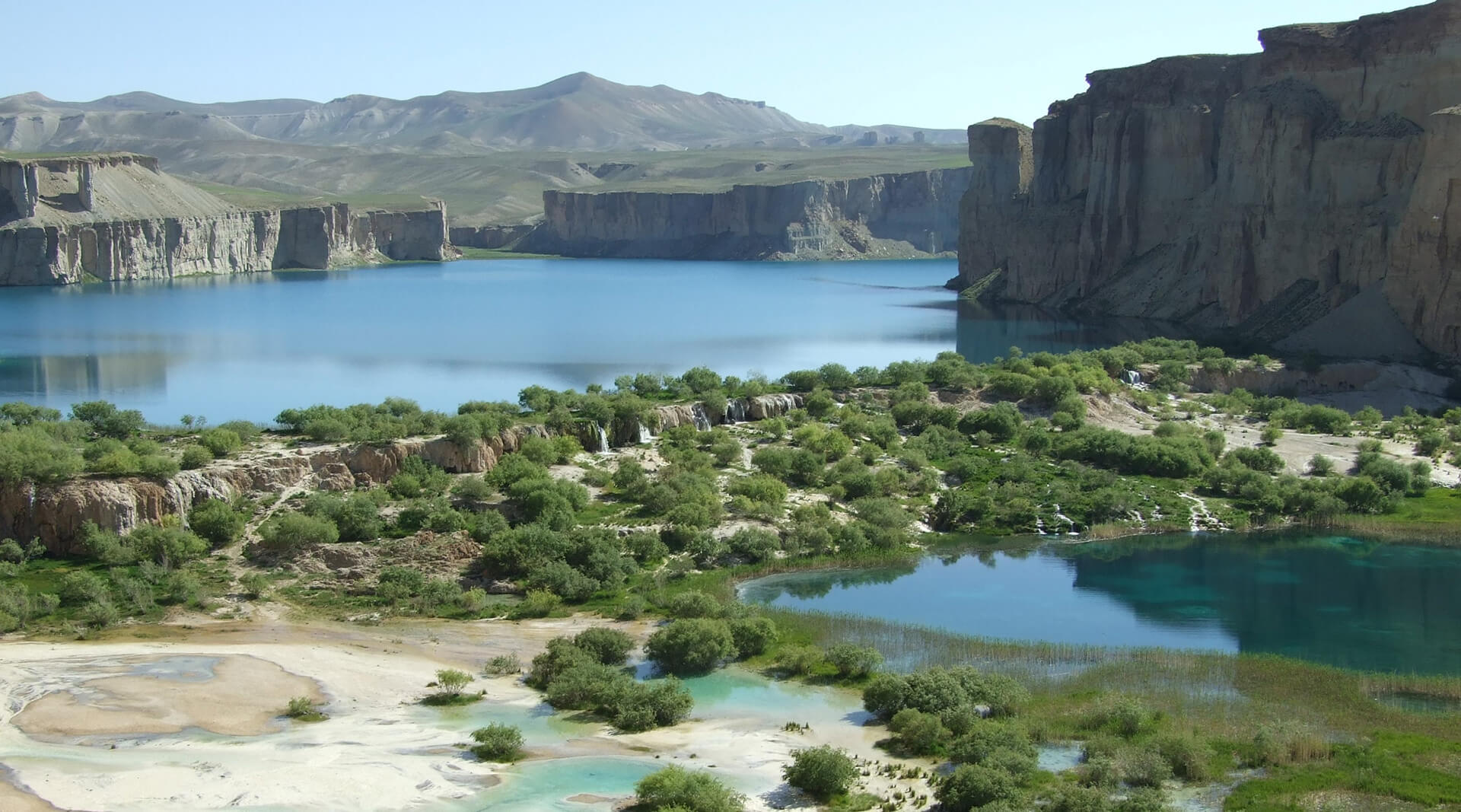 Interlocking turquoise lakes contrast with the arid brown landscape of Band-e-Amir  | Cross Border Conversations | Pradip Krishen X Prof. Anne Feenstra | STIR X LOCO Design